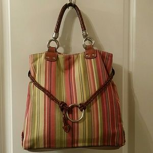 Fossil Braided Leather Handle Multi-color Hobo Bag
